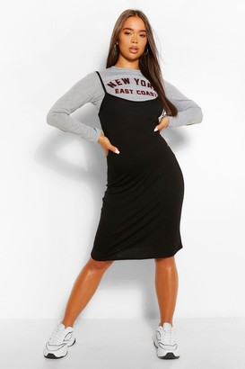 boohoo Long Sleeve Printed Top & Midi Slip Dress