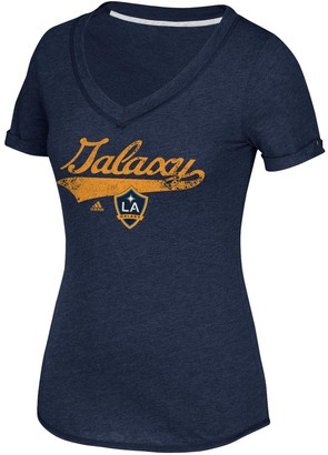 adidas Women's Navy LA Galaxy Tail Stack V-Neck T-Shirt