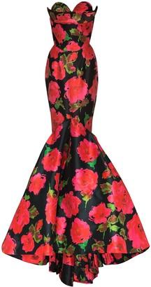 Richard Quinn Strapless Floral-Print Gown