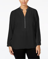 NY Collection Plus Size Grommet-Trim Zip-Front Blouse