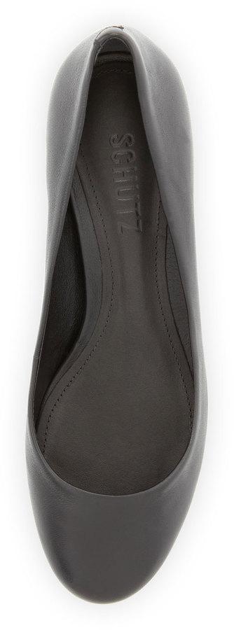 Schutz Studded Cap-Toe Low-Heel Pump, Black