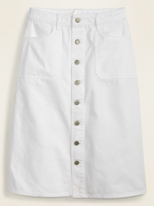 Old Navy Mid-Rise Button-Front Utility-Pocket White Jean Midi Skirt for Women
