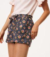 LOFT Peony Tie Waist Shorts