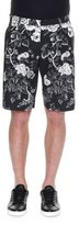 Dolce & Gabbana Rose-Print Bermuda Shorts, Black/White