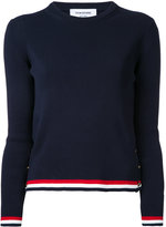 Thom Browne Long Sleeve Crewneck Pullover With Open Stitch Frame In Navy Cotton Crepe