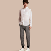 Burberry Prince of Wales Cotton Wool Trousers with Knit Cuffs