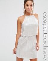 Asos Metallic Pleat Mini Dress with Crop Top Layer