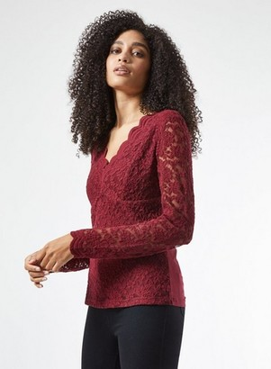 Dorothy Perkins Womens Burgundy Scallop Lace Top