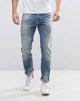 United Colors Of Benetton Slim Fit Jeans In Light Washed Denim With Distressing