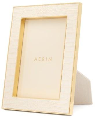 AERIN Small Crocodile-effect Leather Photo Frame - Cream