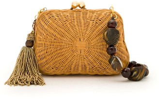 Serpui Marie Patterned Wicker Clutch