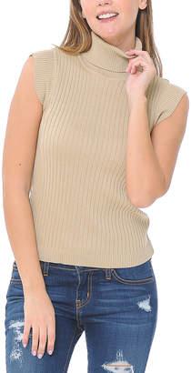Shamaim Women's Pullover Sweaters TAUPE - Taupe Rib Sleeveless Turtleneck - Women