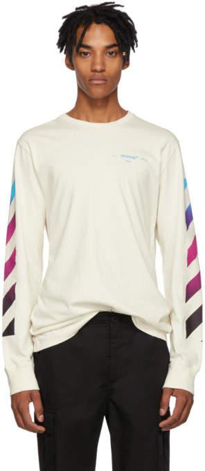 Off-White White Gradient Diagonal Long Sleeve T-Shirt