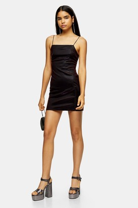 Topshop Womens Gold And Purple Two Tone Square Neck Dress - Gold