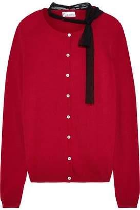 RED Valentino Tie-neck Point D'esprit-trimmed Stretch-knit Cardigan