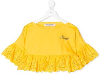 Philosophy Di Lorenzo Serafini Kids lace-trimmed cropped T-shirt