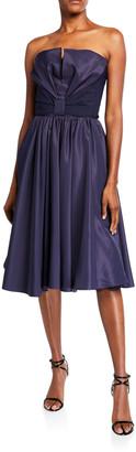 Chiara Boni Taffeta Bustier Full-Skirt Cocktail Dress