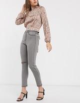 In The Style x Meggan Grubb slash knee mom jean in grey