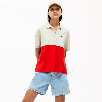 Lacoste Women's Relaxed-Fit Lightweight Color-Block Pique Polo