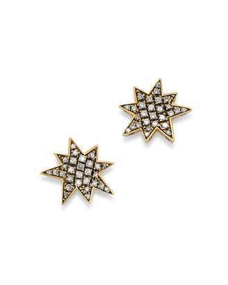 SUEL Blackened 18K Yellow Gold Big Bang Diamond Earrings