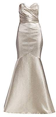 Theia Women's Metallic Strapless Stretch Lamé Mermaid Gown