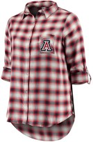 Unbranded Women's Plus Size Concepts Sport Navy/Red Arizona Wildcats Forge Rayon Flannel Long Sleeve Button-Up Shirt