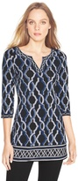 White House Black Market Printed Notch Neck Tunic