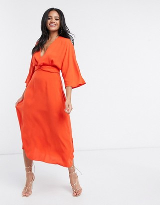 ASOS DESIGN batwing twist front midi skater dress in orange