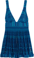 Missoni Mare pleated metallic crochet-knit mini dress