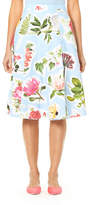 Carolina Herrera Floral Collage-Print Cotton Faille Full Skirt