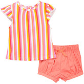 Isaac Mizrahi Striped Ruffle Sleeve Tee & Short Set (Baby Girls 0-9M)