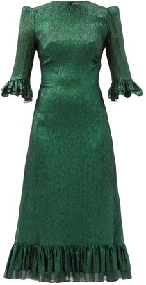 The Vampire's Wife The Falconetti Ruffled Metallic Silk-blend Dress - Green