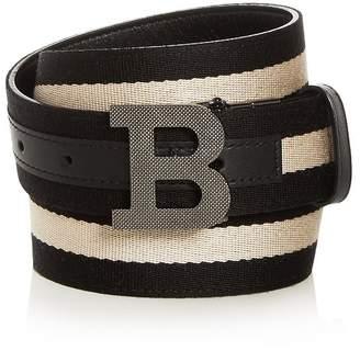 Bally Men's B Buckle Leather & Canvas Reversible Belt