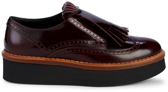 Tod's Patent Leather Fringe Platform Wedge Oxford Loafers