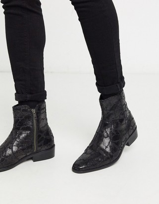 Topman faux leather boot with cuban heel in black