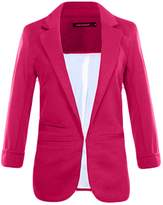Legou Women 3/4 Sleeve Lapel Collar Slim Short Blazer