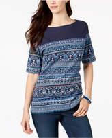 Karen Scott Boho-Print T-Shirt, Created for Macy's