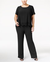 NY Collection Plus Size Laser-Cutout Popover Jumpsuit