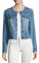 Joie Cranham Frayed-Edge Denim Jacket, Blue