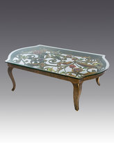 Jay Strongwater Floral & Scroll Coffee Table