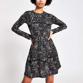 River Island Womens Black printed ribbed mini smock dress