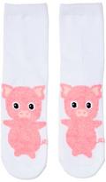 Dotti Fluffy Piggy 3Qtr Crew Sock