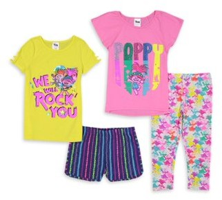Trolls Girls 4-8 Fashion Tops, Ruffle Short and Printed Legging Mix And Match, 4-Piece Outfit Set