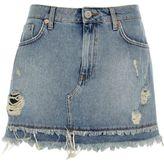 River Island Womens Mid Blue frayed hem denim mini skirt