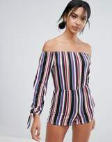 Daisy Street Off The Shoulder Stripe Playsuit
