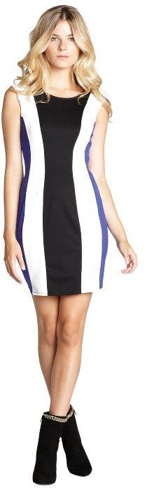 Hayden black, white and cobalt colorblock v-back sleeveless stretch dress