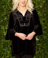 Paparazzi Black Velvet Embroidered Notch Neck Tunic
