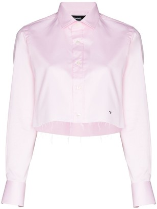 Hommegirls Cropped Frayed-Detail Shirt
