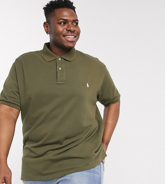 Polo Ralph Lauren Big & Tall player logo mesh pique polo custom slim fit slim in defender green/c8106