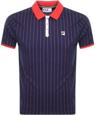 Fila Vintage Pinstripe Polo T Shirt Navy